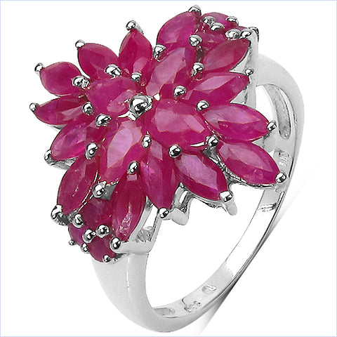 4.07 Carat Genuine Ruby .925 Sterling Silver Ring