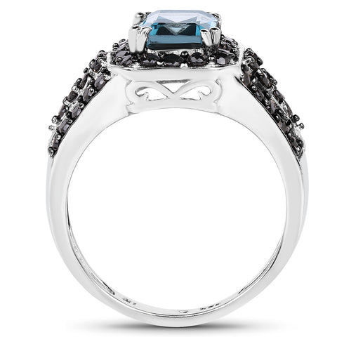 2.95 Carat Genuine London Blue Topaz & Black Spinel .925 Sterling Silver Ring