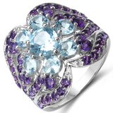 14K Yellow Gold Plated 4.58 Carat Genuine Amethyst & Blue Topaz .925 Sterling Silver Ring