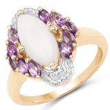 14K Yellow Gold Plated 2.00 Carat Genuine Opal and Amethyst .925 Sterling Silver Ring