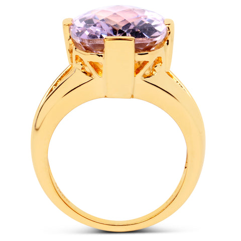 14K Yellow Gold Plated 8.75 Carat Genuine Pink Amethyst .925 Sterling Silver Ring