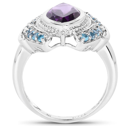 3.06 Carat Genuine Amethyst and London Blue Topaz .925 Sterling Silver Ring