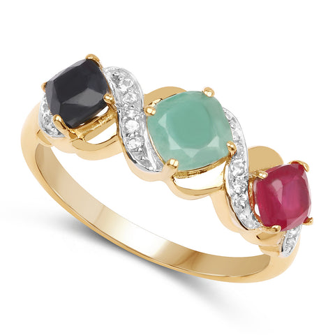 14K Yellow Gold Plated 1.49 Carat Genuine Multi Stone .925 Sterling Silver Ring