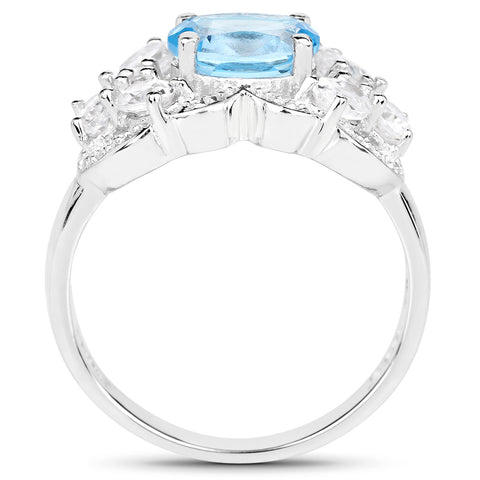3.20 Carat Genuine Blue Topaz and White Zircon .925 Sterling Silver Ring