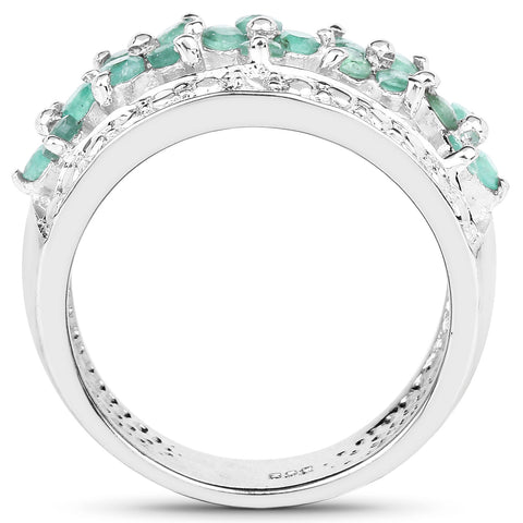 0.62 Carat Genuine Emerald and White Diamond .925 Sterling Silver Ring