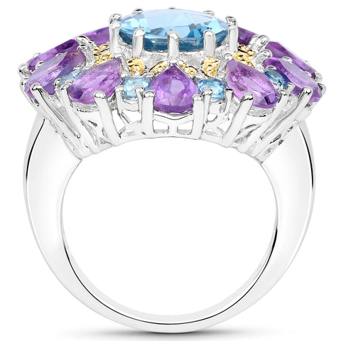 8.86 Carat Genuine London Blue Topaz and Amethyst .925 Sterling Silver Ring