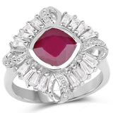 2.66 Carat Glass Filled Ruby and White Topaz .925 Sterling Silver Ring