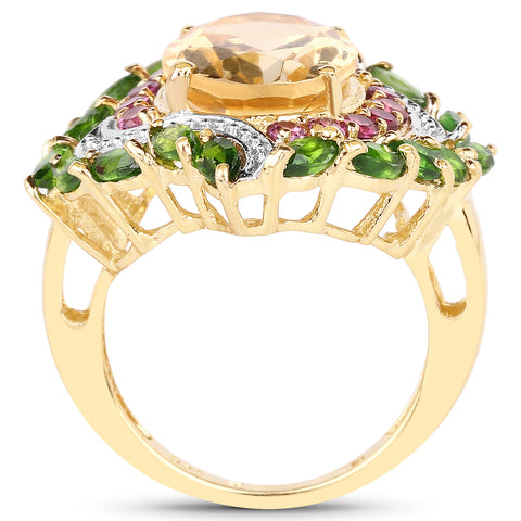 14K Yellow Gold Plated 6.11 Carat Genuine Citrine, Rhodolite & Chrome Diopside .925 Sterling Silver Ring