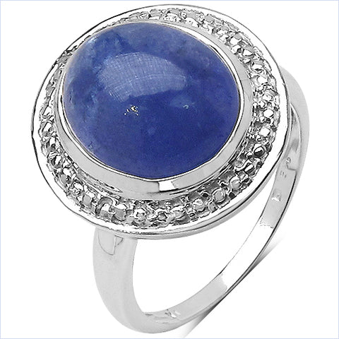 7.10 Carat Genuine Tanzanite .925 Sterling Silver Ring