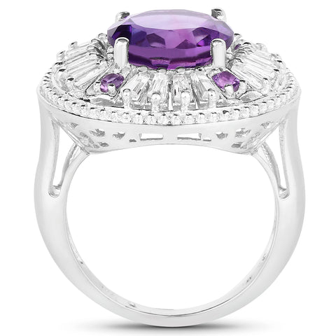 5.58 Carat Genuine Amethyst and White Topaz .925 Sterling Silver Ring