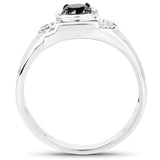 0.39 Carat Genuine Black Diamond and White Diamond .925 Sterling Silver Ring