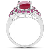 4.43 Carat Glass Filled Ruby and Ruby .925 Sterling Silver Ring