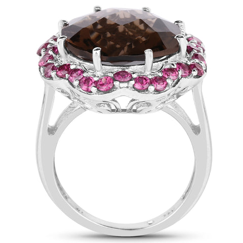 10.65 Carat Genuine Smoky Quartz and Rhodolite .925 Sterling Silver Ring