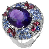 7.02 Carat Genuine Amethyst, Rhodolite & Tanzanite .925 Sterling Silver Ring
