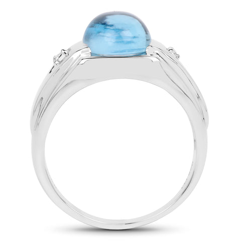 3.67 Carat Genuine Swiss Blue Topaz and White Topaz .925 Sterling Silver Ring