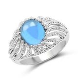 3.65 Carat Genuine Swiss Blue Topaz .925 Sterling Silver Ring