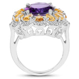 5.37 Carat Genuine Amethyst and Citrine .925 Sterling Silver Ring