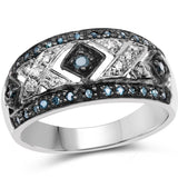 0.26 Carat Genuine Blue Diamond and White Diamond .925 Sterling Silver Ring