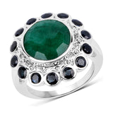 6.88 Carat Dyed Emerald & Blue Sapphire .925 Sterling Silver Ring