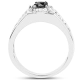 0.75 Carat Genuine Black Diamond and White Diamond .925 Sterling Silver Ring