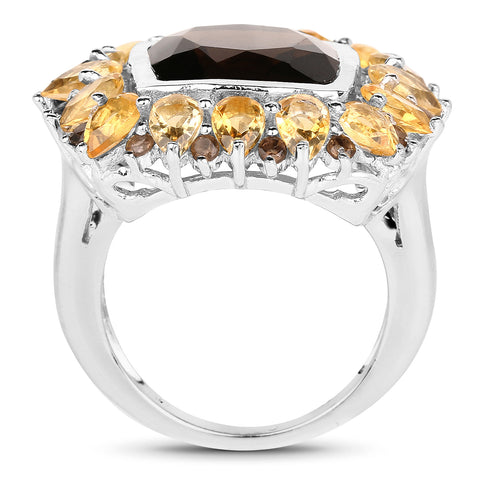 9.16 Carat Genuine Smoky Quartz & Citrine .925 Sterling Silver Ring