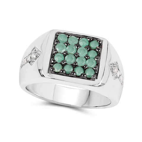 0.60 Carat Genuine Emerald & White Diamond .925 Sterling Silver Ring