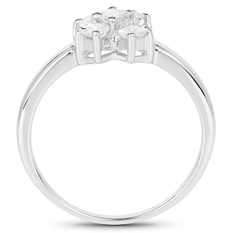 0.30 Carat Genuine White Topaz .925 Sterling Silver Ring