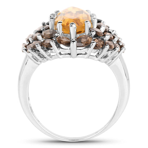 6.20 Carat Genuine Citrine & Smoky Quartz .925 Sterling Silver Ring