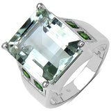 9.55 Carat Genuine Green Amethyst & Chrome Diopside .925 Sterling Silver Ring