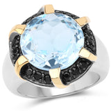 11.17 Carat Genuine Blue Topaz and Black Spinel .925 Sterling Silver Ring