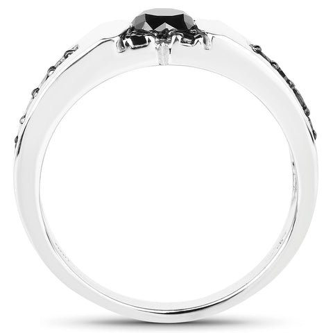 0.83 Carat Genuine Black Diamond .925 Sterling Silver Ring