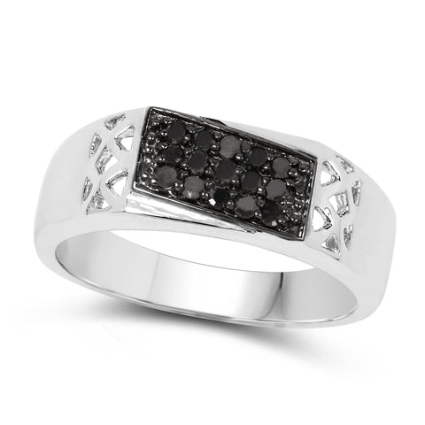 0.23 Carat Genuine Black Diamond .925 Sterling Silver Ring