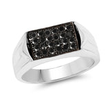 0.42 Carat Genuine Black Diamond .925 Sterling Silver Ring