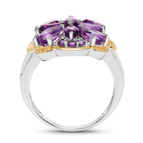 Two Tone Plated 2.66 Carat Genuine Amethyst .925 Sterling Silver Ring