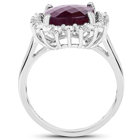 7.20 Carat Genuine Ruby & White Topaz .925 Sterling Silver Ring