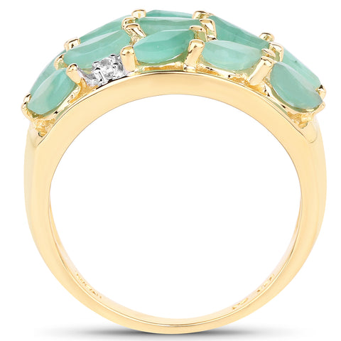 14K Yellow Gold Plated 1.56 Carat Genuine Emerald and White Topaz .925 Sterling Silver Ring