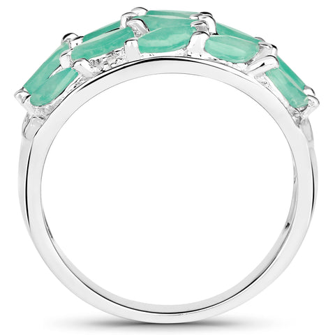 1.56 Carat Genuine Emerald and White Topaz .925 Sterling Silver Ring