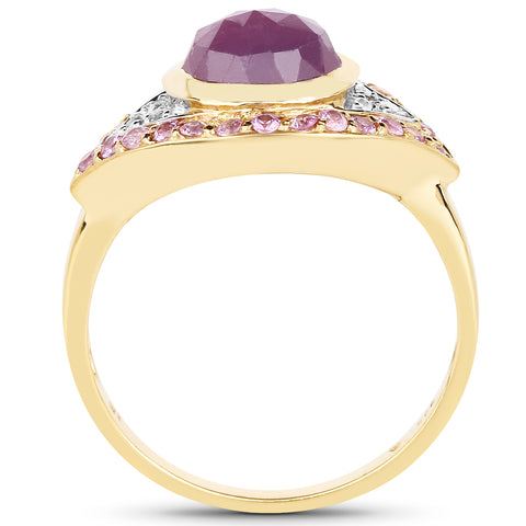 14K Yellow Gold Plated 3.02 Carat Genuine Pink Sapphire and White Topaz .925 Sterling Silver Ring