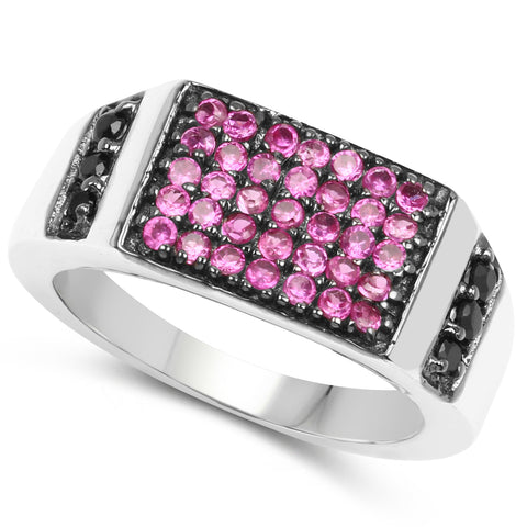 1.44 Carat Created Ruby & Black Spinel .925 Sterling Silver Ring