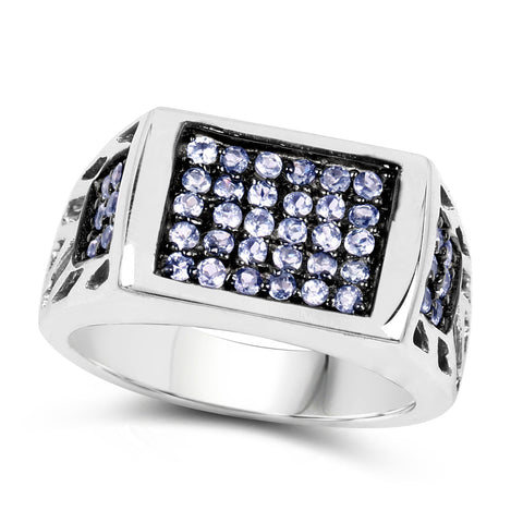 0.60 Carat Genuine Tanzanite .925 Sterling Silver Ring