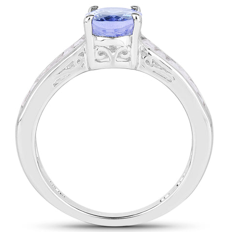 2.13 Carat Genuine Tanzanite & White Topaz .925 Sterling Silver Ring