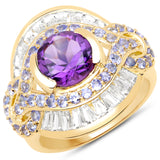 14K Yellow Gold Plated 3.93 Carat Genuine Amethyst, Tanzanite and White Topaz .925 Sterling Silver Ring