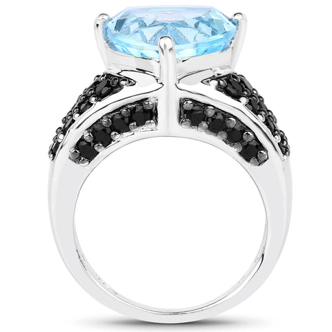 5.49 Carat Genuine Blue Topaz and Black Spinel .925 Sterling Silver Ring