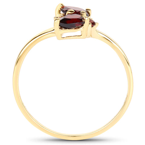14K Yellow Gold Plated 0.76 Carat Genuine Garnet .925 Sterling Silver Ring