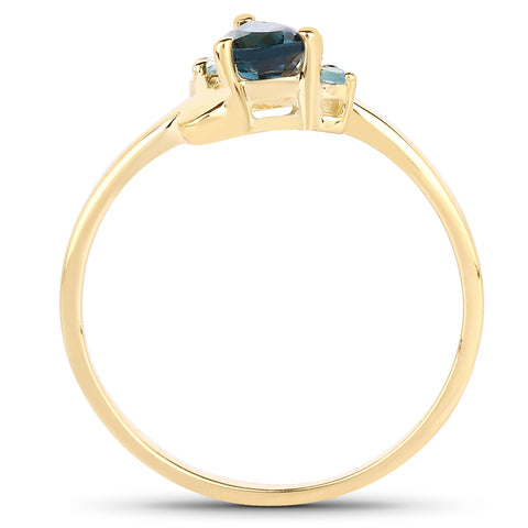 14K Yellow Gold Plated 0.58 Carat Genuine London Blue Topaz and Swiss Blue Topaz .925 Sterling Silver Ring