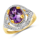 14K Yellow Gold Plated 2.15 Carat Genuine Amethyst .925 Sterling Silver Ring