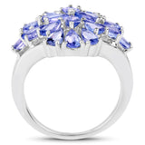 3.80 Carat Genuine Tanzanite .925 Sterling Silver Ring