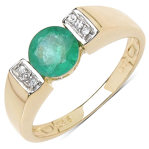 0.96 Carat Genuine Emerald & White Cubic Zircon 10K Yellow Gold Ring
