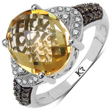 4.69 Carat Genuine Citrine, Champagne Diamond & White Diamond .925 Sterling Silver Ring