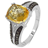 2.82 Carat Genuine Citrine, Champagne Diamond & White Diamond .925 Sterling Silver Ring